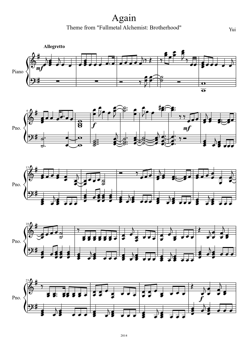 Again by Yui sheet music download free in PDF or MIDI