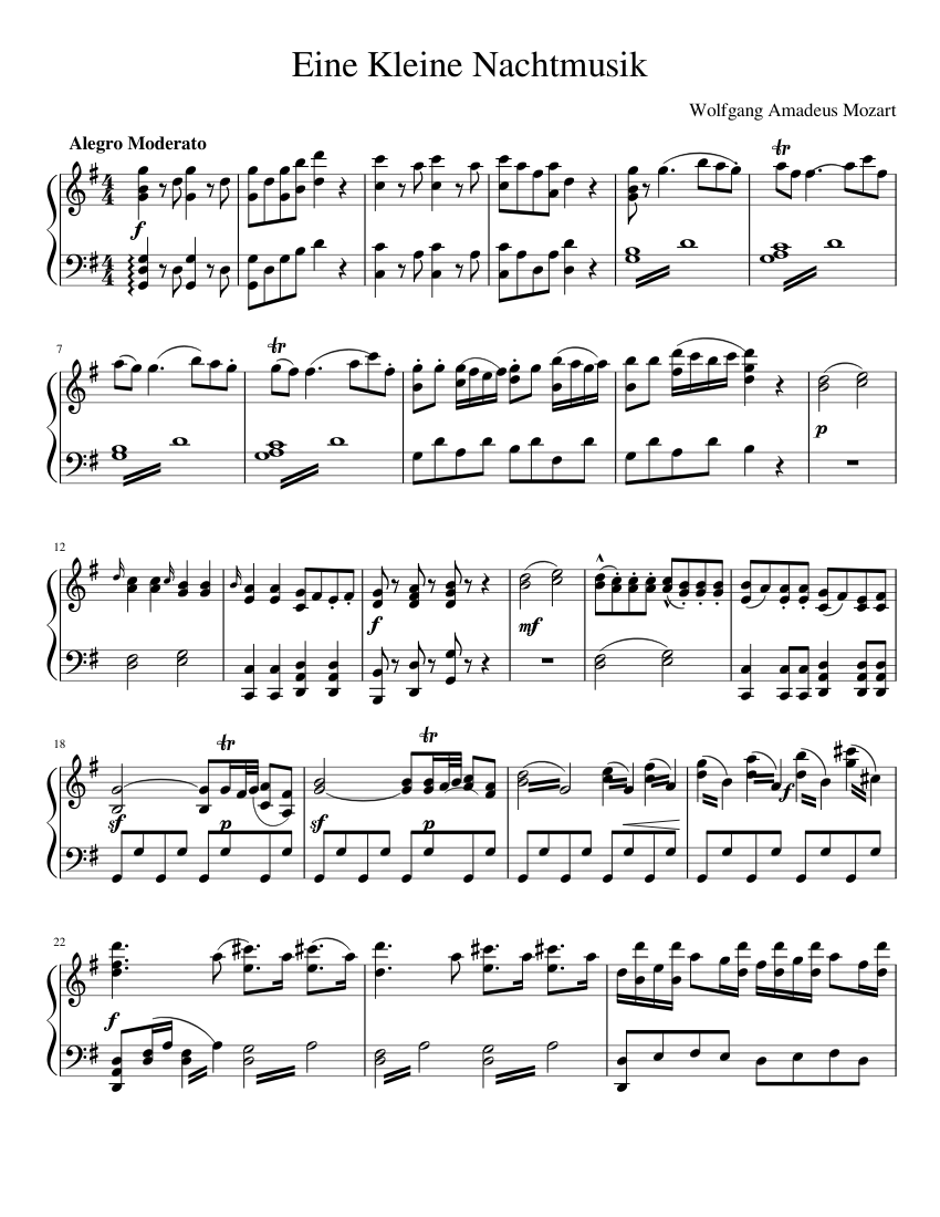 Eine Kleine Nachtmusik sheet music composed by Wolfgang Amadeus Mozart – 1 of 3 pages