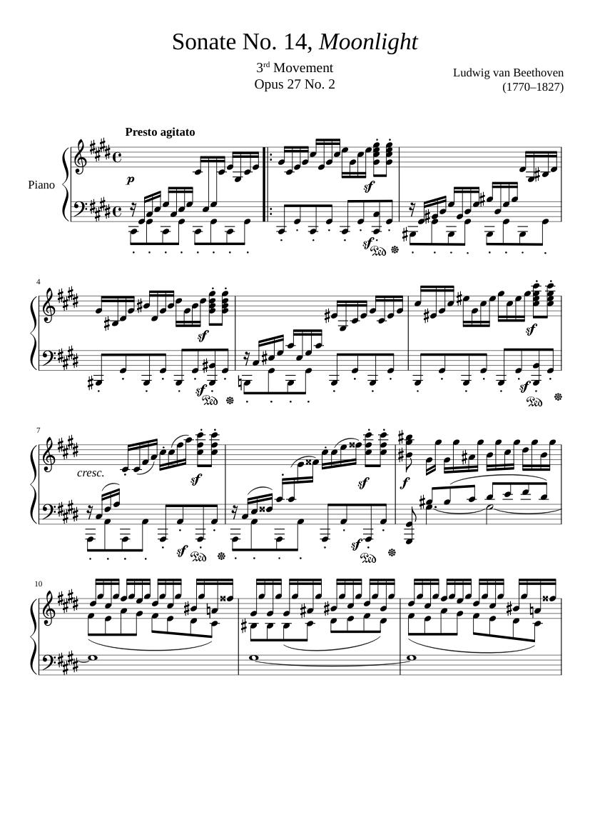 "Sonate No. 14, ""Moonlight"" 3rd Movement"