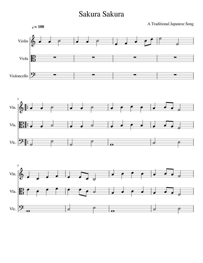Sakura japanese traditional song sheet music for flute, piano.