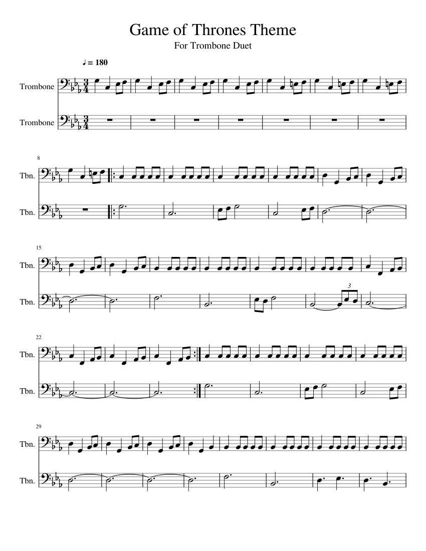 Game Of Thrones Theme Song For Trombone Duet Sheet Music For Trombone Brass Duet Musescore Com