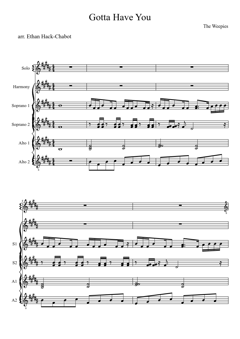 Gotta have you sheet music download free in pdf or midi.