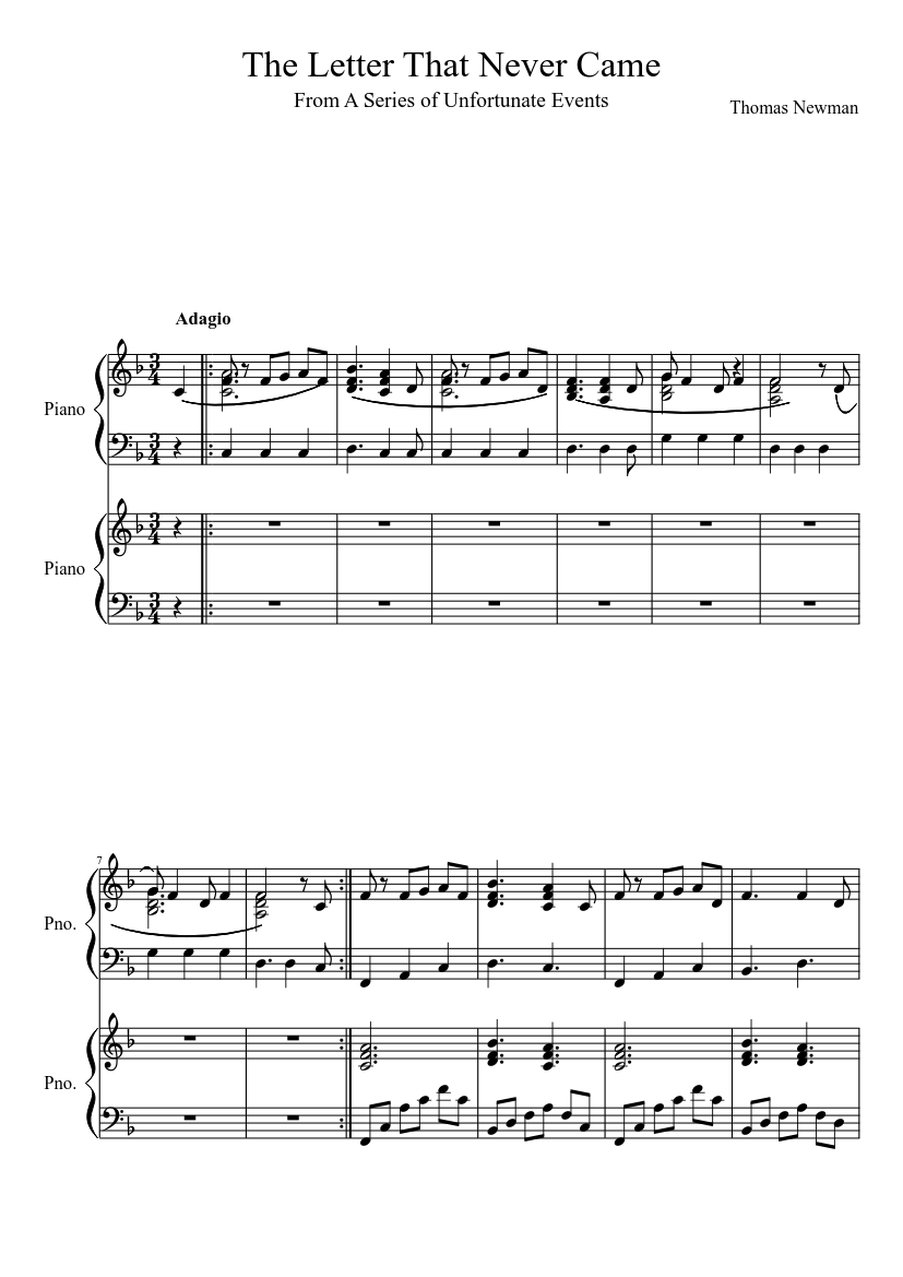 The Letter That Never Came sheet music for Piano download free in