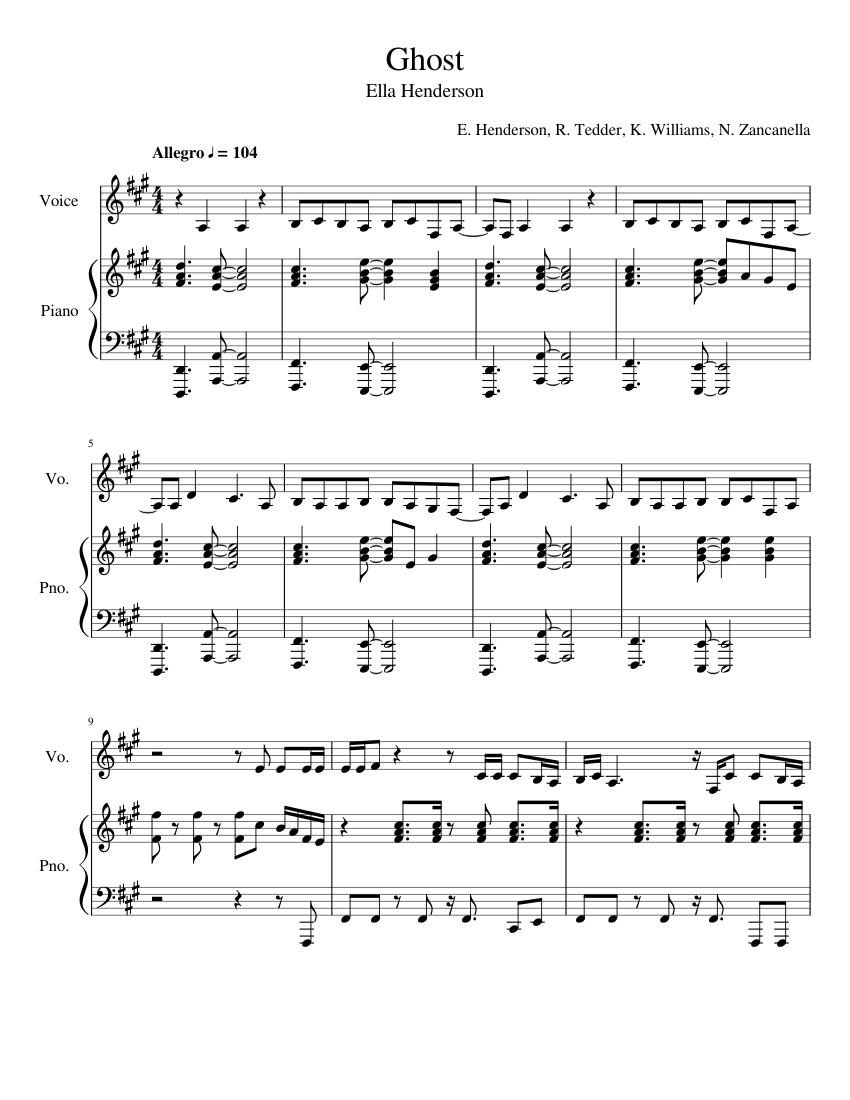 ghost sheet music for piano, vocals (piano-voice) | musescore.com  musescore.com