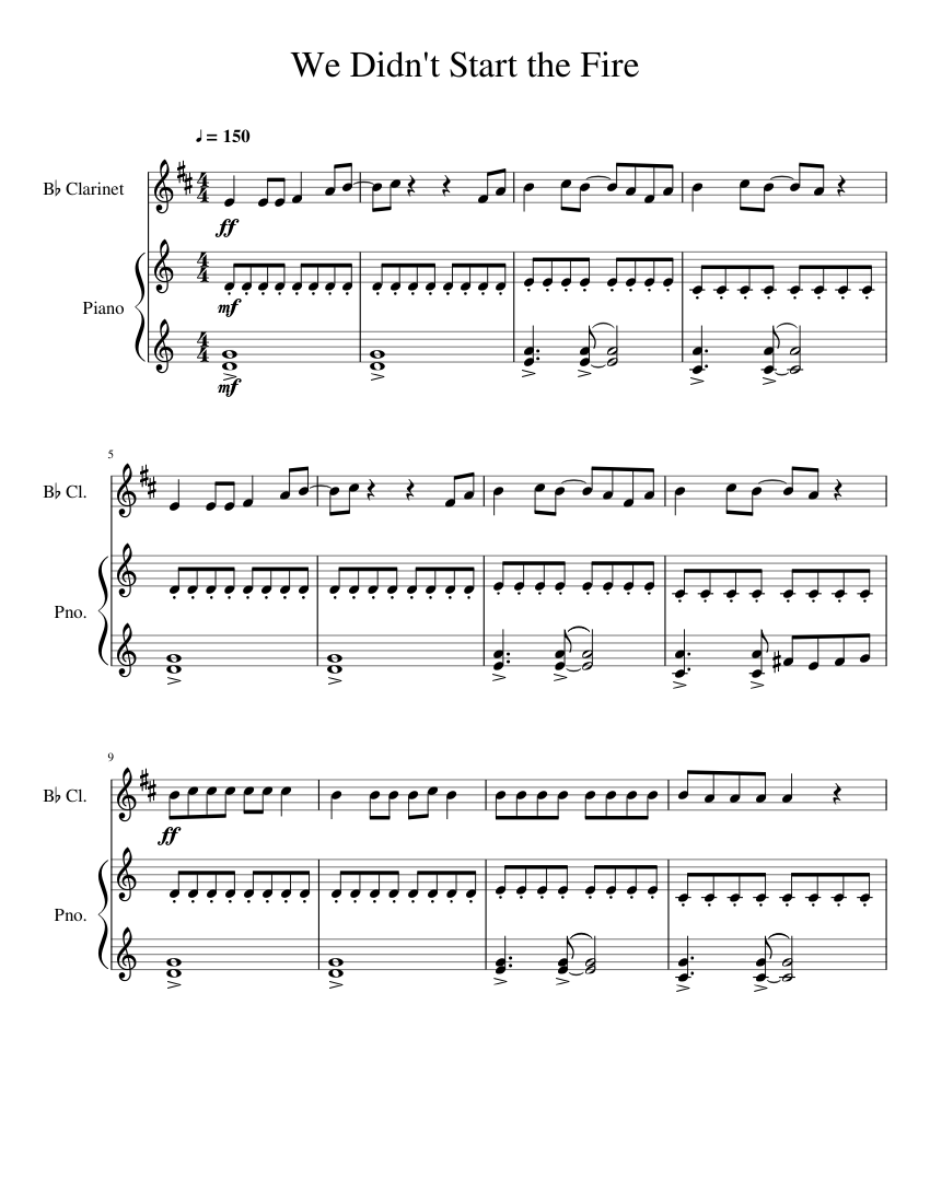 we didn't start the fire sheet music for piano, clarinet (in b flat) (solo)  | musescore.com  musescore.com