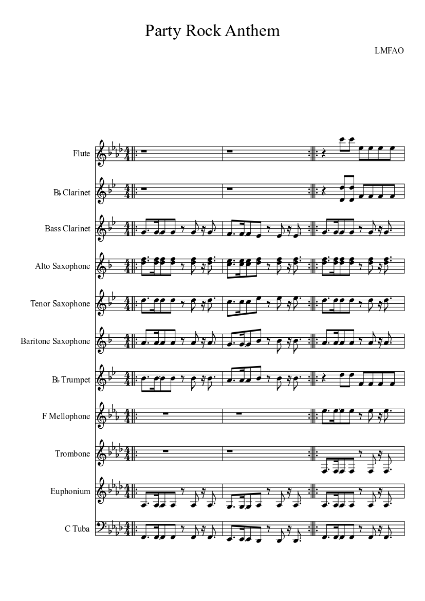 The Party Rock Anthem Lmfao Sheet Music For Trombone Flute Tuba Trumpet More Instruments Mixed Quintet Musescore Com