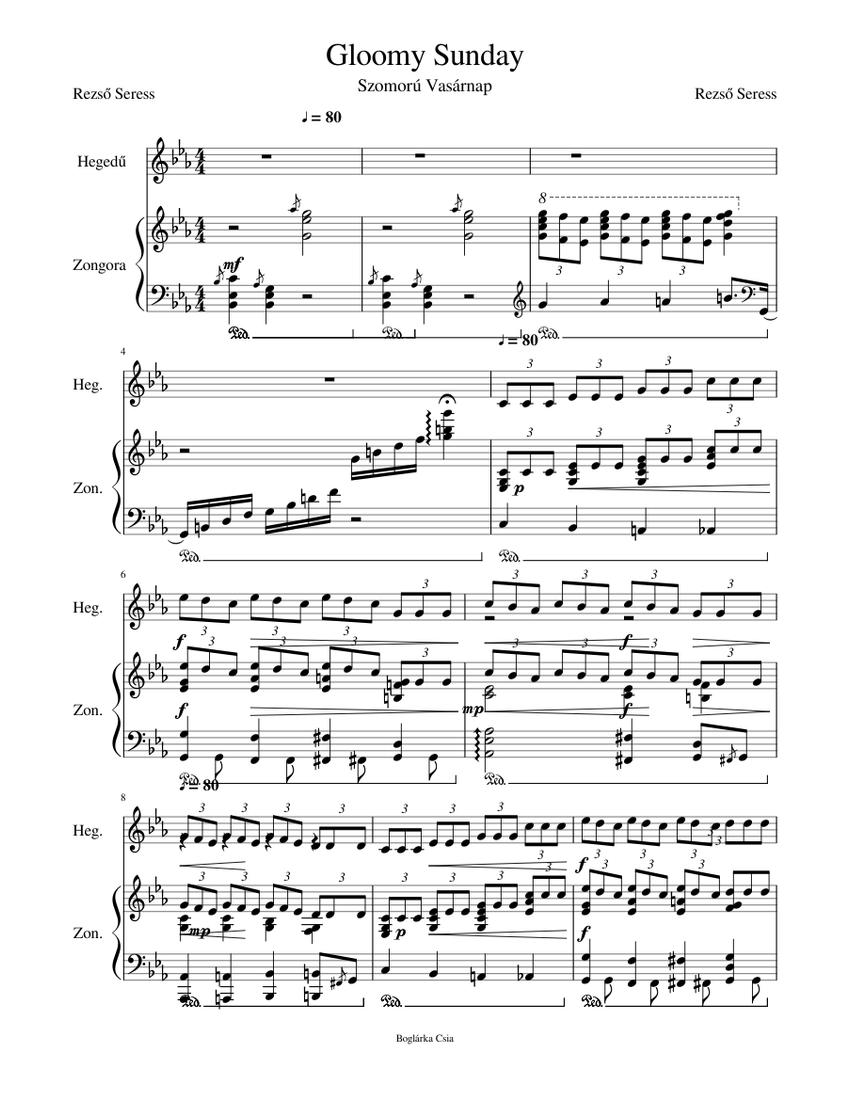 Gloomy Sunday Sheet music for Piano, Violin (Solo)