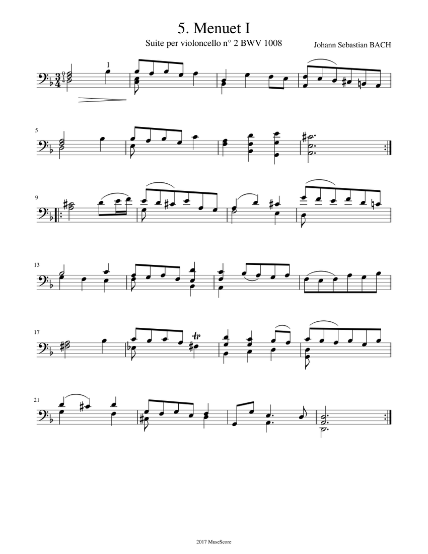 j. s. bach - cello suite n° 2 bwv 1008 - 5. menuet 1 sheet music for cello  (solo) | download and print in pdf or midi free sheet music for cello  musescore.com