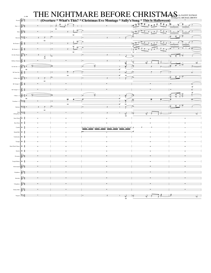 the nightmare before christmas sheet music for flute, clarinet