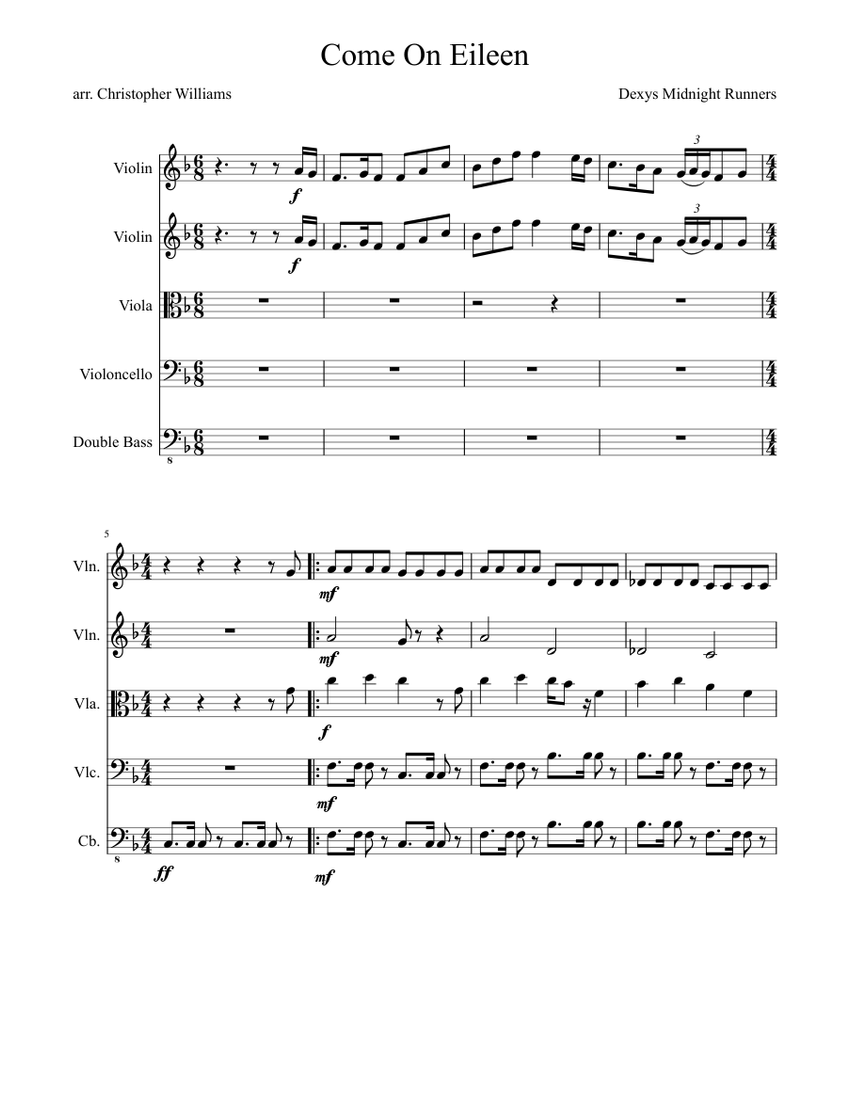 Come On Eileen Sheet music for Violin, Viola Mixed Trio ...