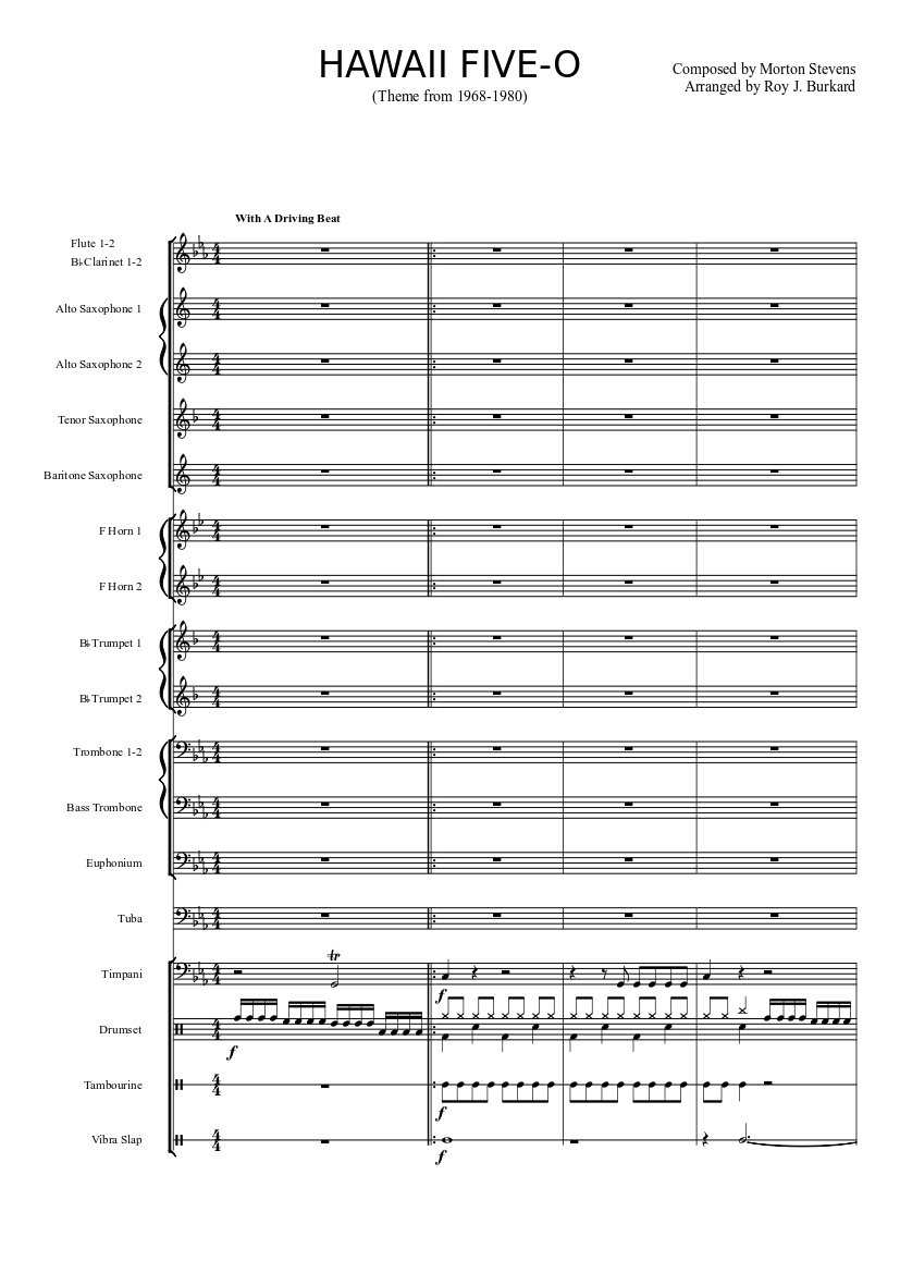 Hawaii five-o sheet music for flute, violin, alto saxophone.