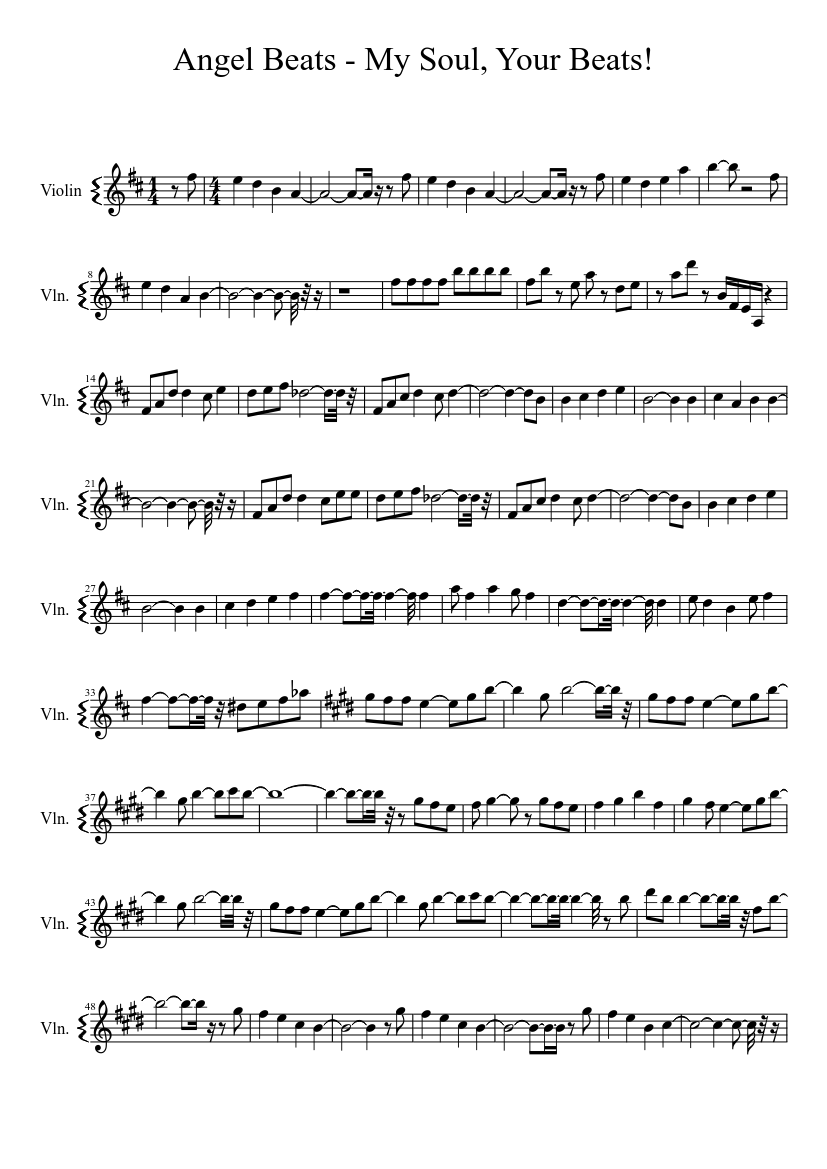 Angel Beats Op my soul your beats/ angel beats! for violin sheet music for