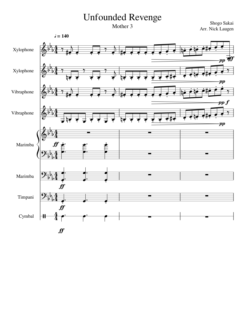 Unfounded Revenge sheet music for Percussion, Timpani