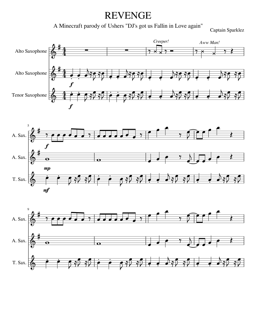 REVENGE Sheet music for Saxophone (Alto), Saxophone (Tenor