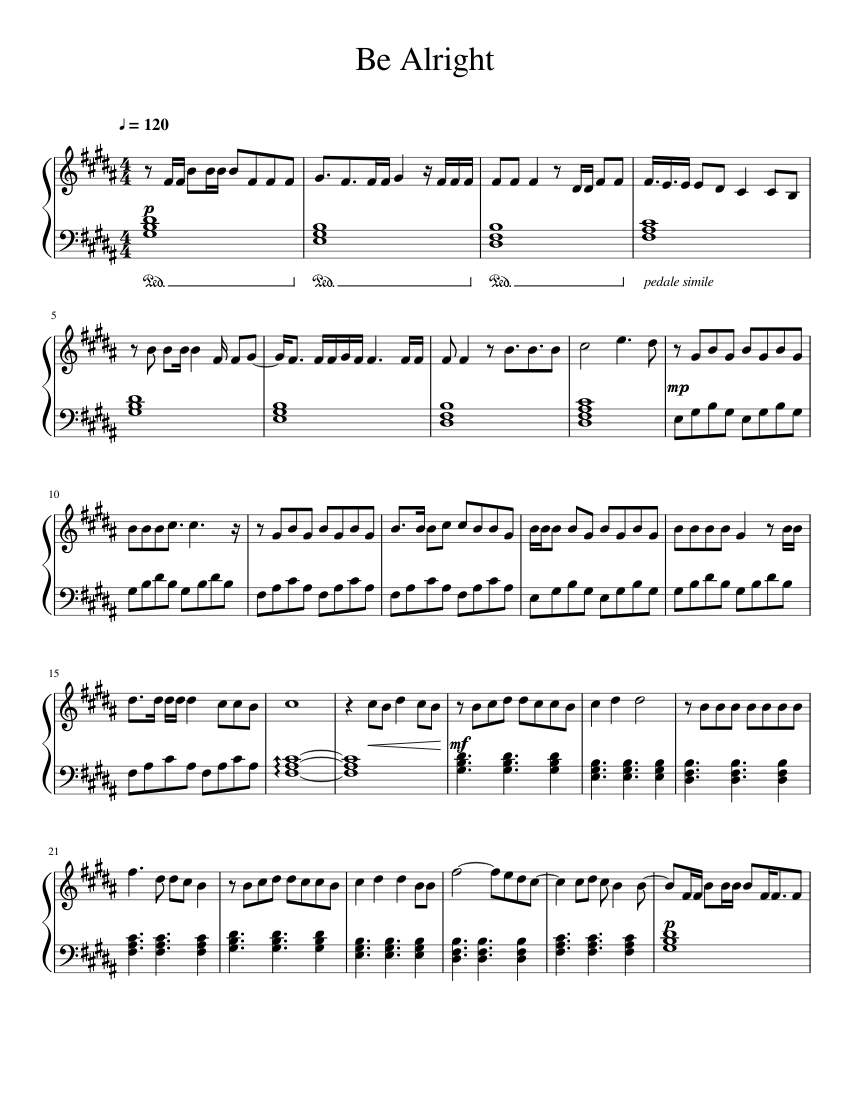 Dean Lewis - Be Alright Sheet music for Piano (Solo ...