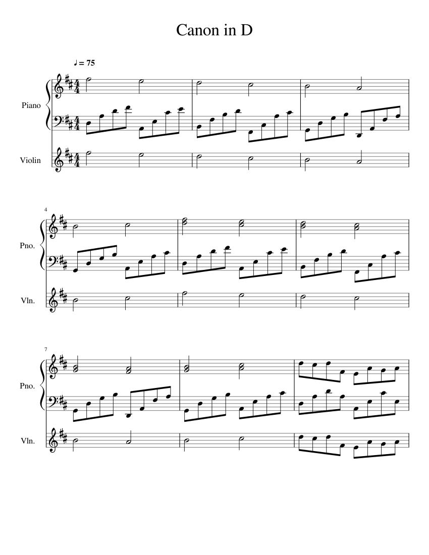 Canon In D Piano Violin Sheet Music For Piano Violin Solo Musescore Com