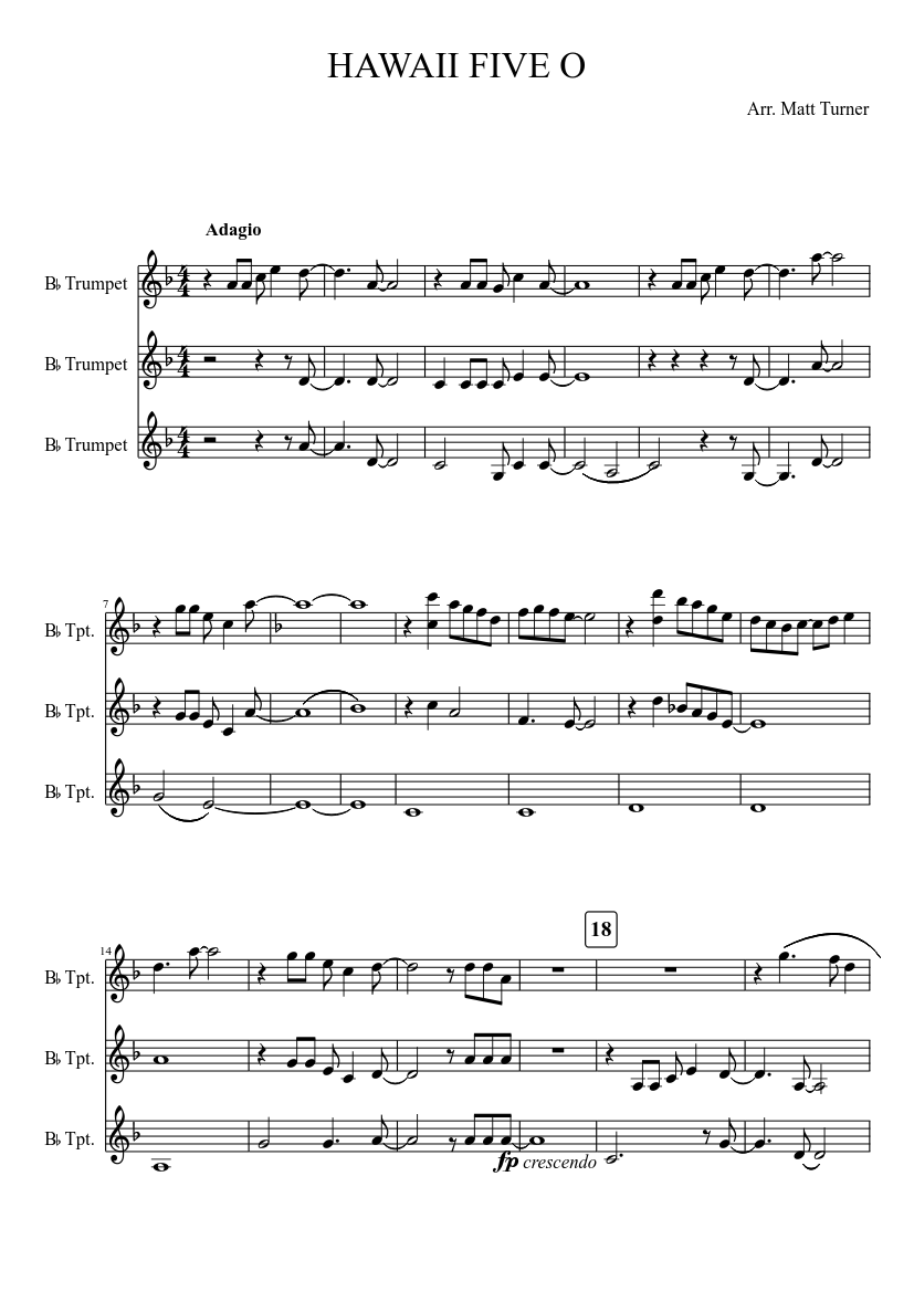 Hawaii five o for 3 trumpets sheet music for trumpet download.