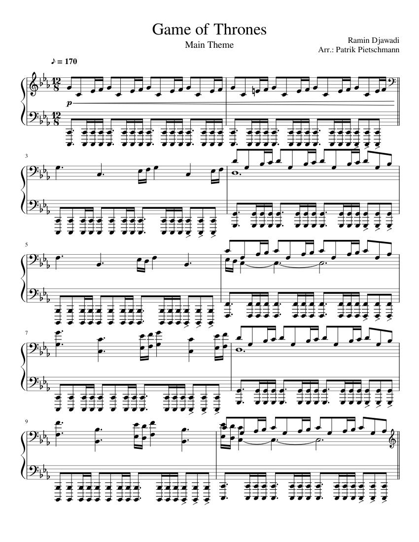 Game Of Thrones Titelmusik Klaviernoten game of thrones main theme sheet music for piano | download