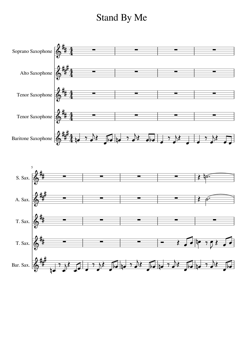 Stand By Me Sax Quintet Sheet Music For Soprano Saxophone Alto