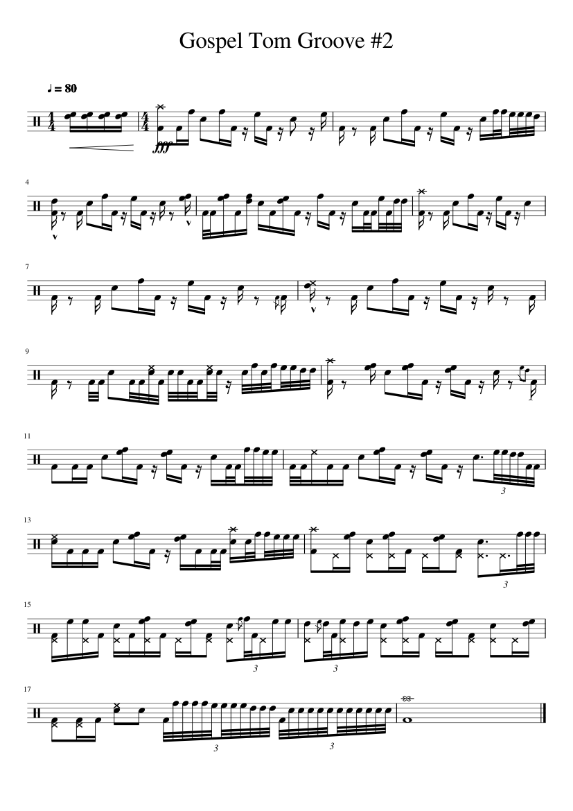 Gospel Tom Groove #2 sheet music for Percussion download free in PDF