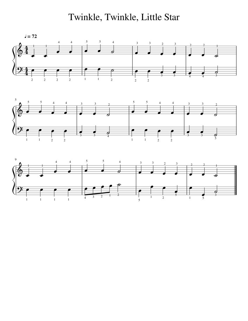 Twinkle, Twinkle, Little Star sheet music  – 1 of 1 pages