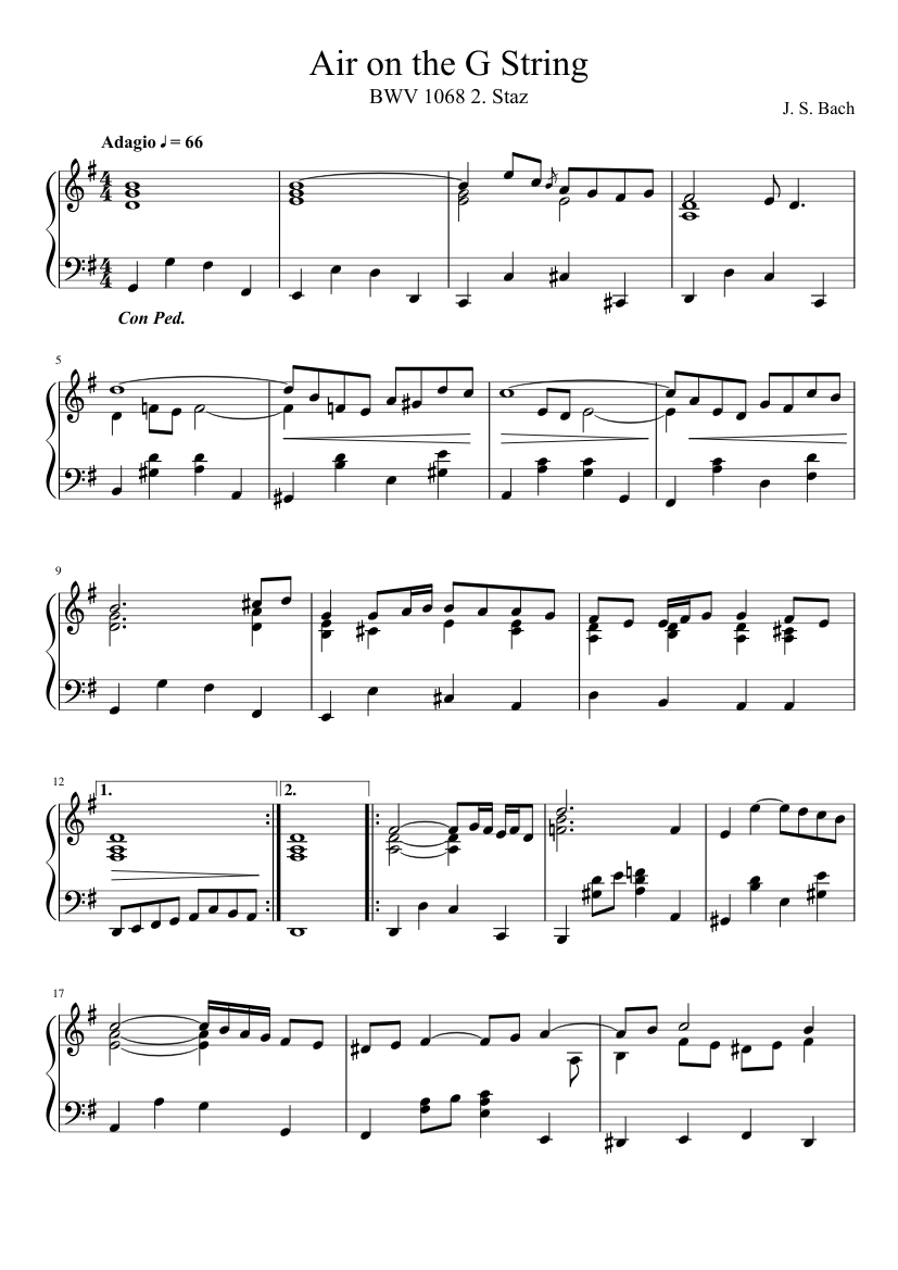 air on the g string free sheet music