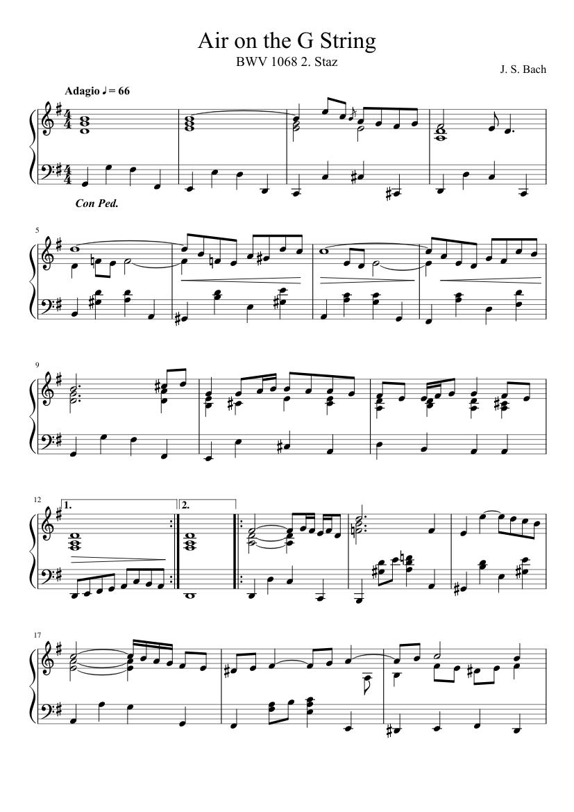 j. s. bach - air on the g string (piano arrangement) sheet music for piano  (solo) | musescore.com  musescore.com