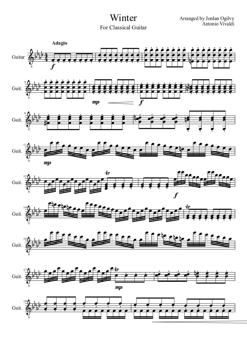 Four seasons winter guitar sheet music download free in pdf or midi.
