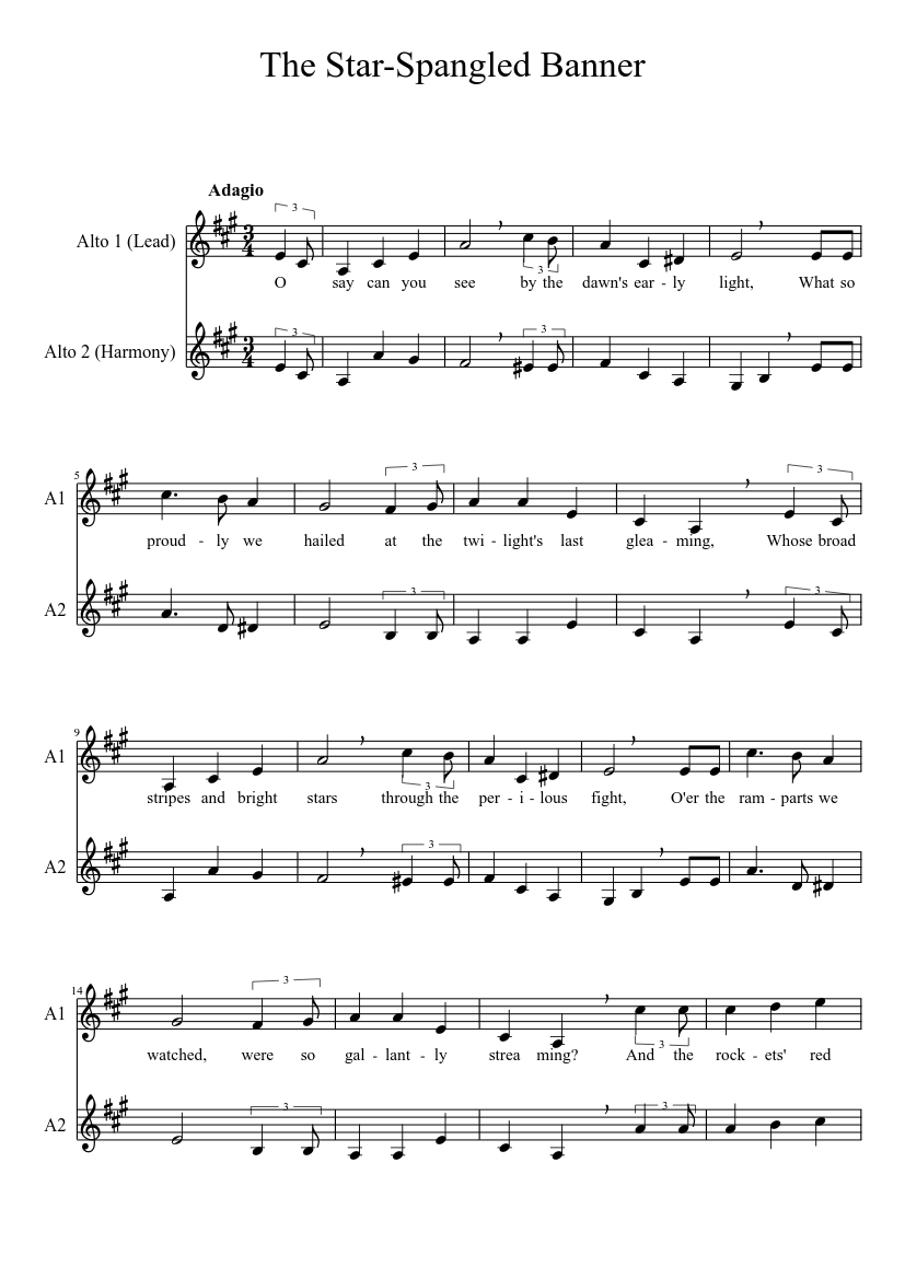 Star Spangled Banner A Cappella Duet Sheet Music For Clarinet In B Flat Musescore Com