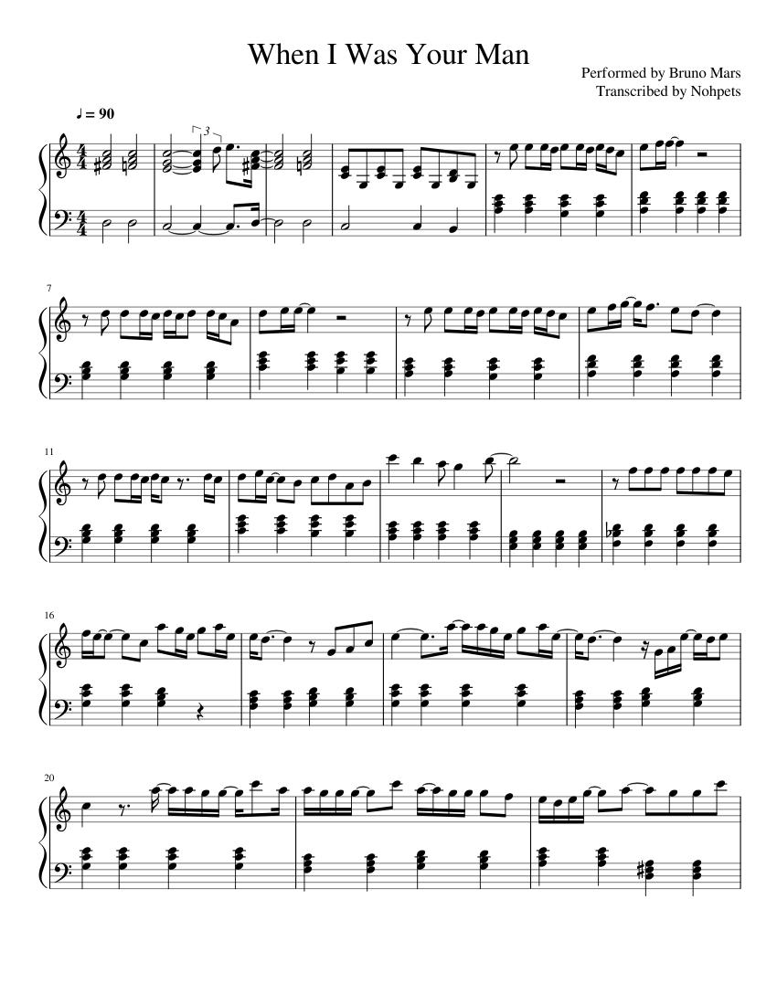 When I Was Your Man Sheet music for Piano Solo   Musescore.com