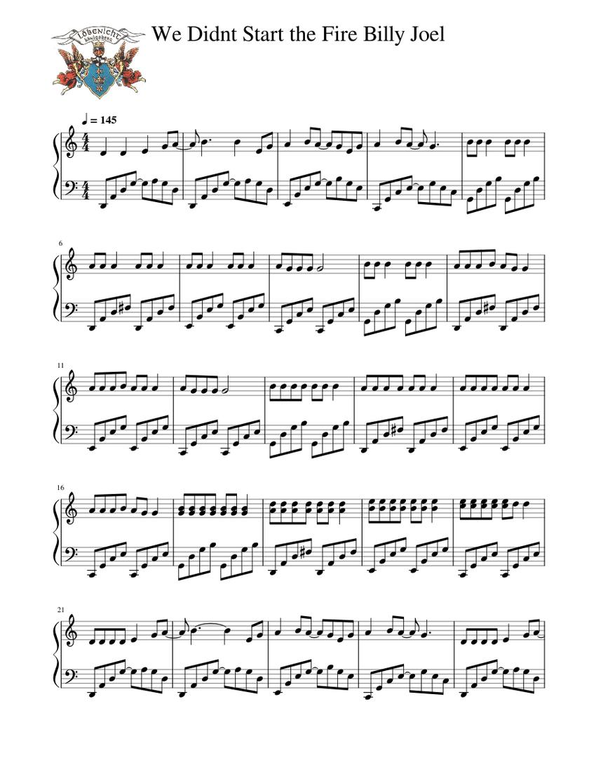 we didnt start the fire billy joel sheet music for piano (solo) |  musescore.com  musescore.com