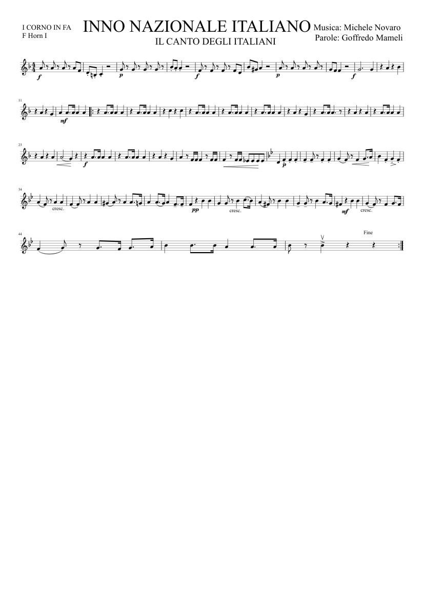 Inno di mameli trascrizione per chitarra di giuseppe maria ficara.