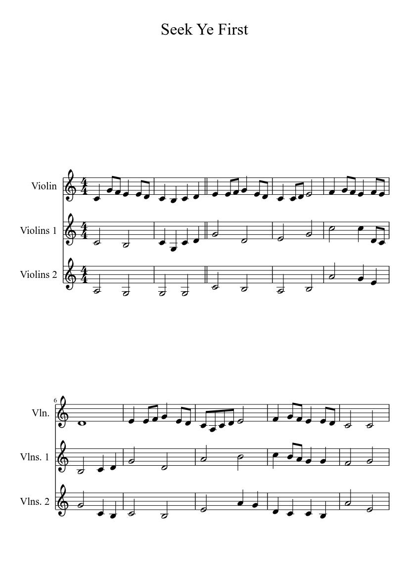 Seek ye first sheet music for violin, clarinet, flute, alto.