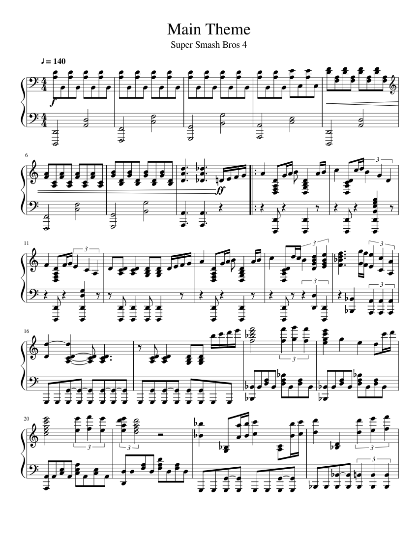 Main Theme sheet music  – 1 of 3 pages