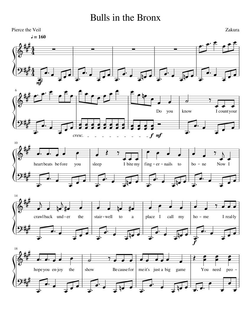 Pierce The Veil Bulls In The Bronx Sheet Music For Piano Solo Musescore Com