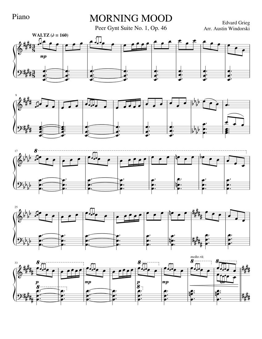 Morning Mood Sheet Music For Piano Solo Musescore Com