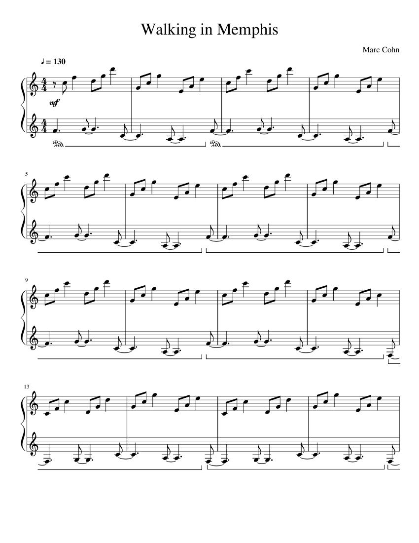 Walking in Memphis Piano Accompaniment Sheet music for Piano ...