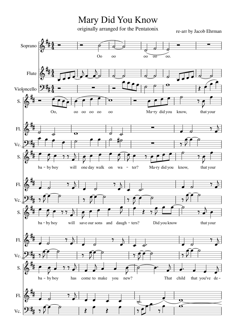 Mary did you know? for voice, flute, and cello sheet music for Flute, Voice, Cello download free ...
