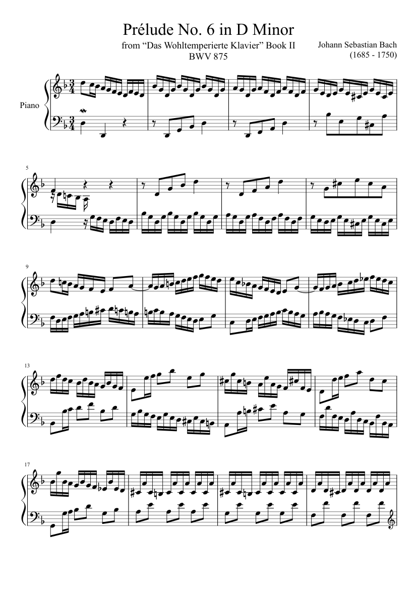 bach prelude and fugue in d minor book 1