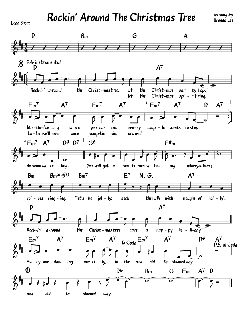 Rockin Around The Christmas Tree Leadsheet Sheet music for Piano ...