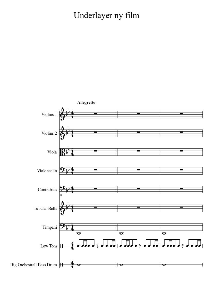 Dark background music sheet music for Strings, Viola, Cello