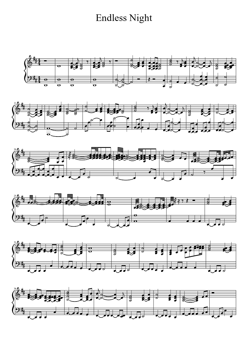 endless night sheet music for piano (solo)   musescore.com  musescore.com