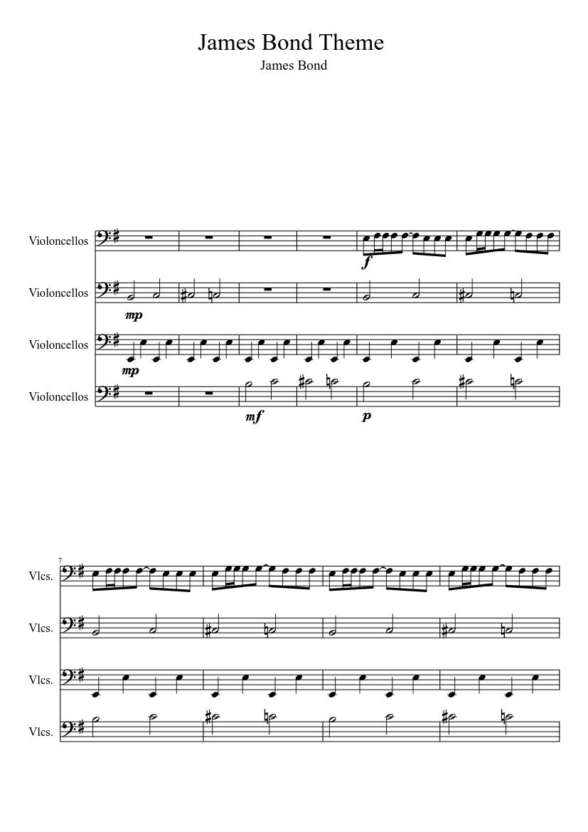 James bond theme cello quartet sheet music | download free in pdf.