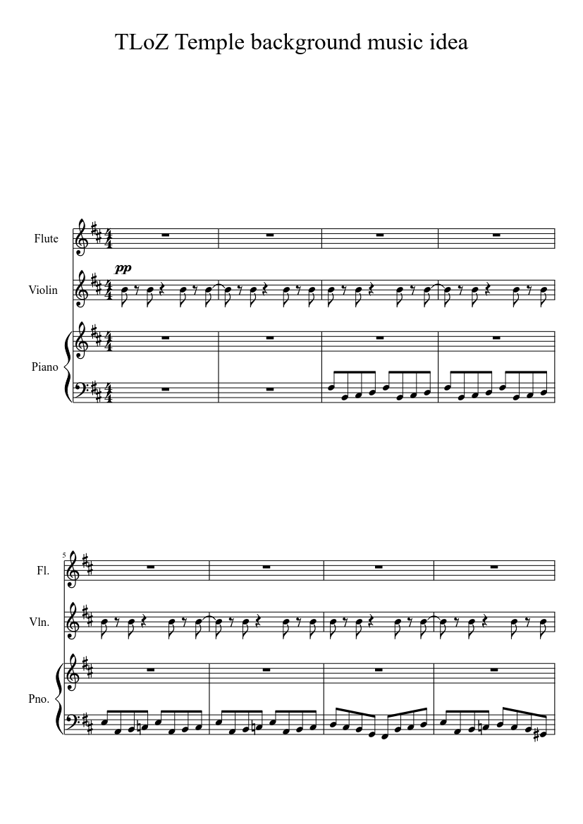 TLoZ - Temple music (WIP) sheet music for Flute, Violin, Piano