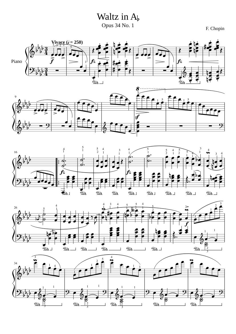 Chopin Waltz In A Flat Op 34 No 1 Sheet Music For Piano Solo Musescore Com