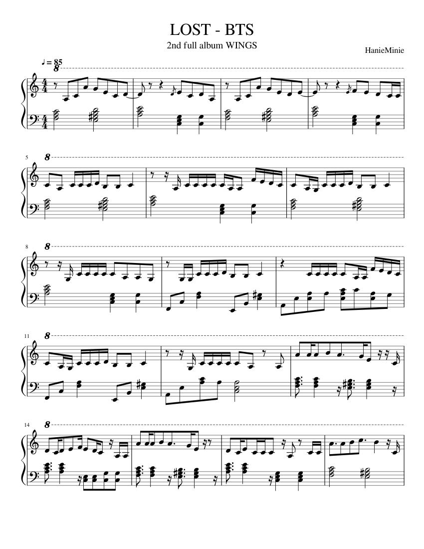 Jimin Lie Piano Sheet Music (Da Wawa)