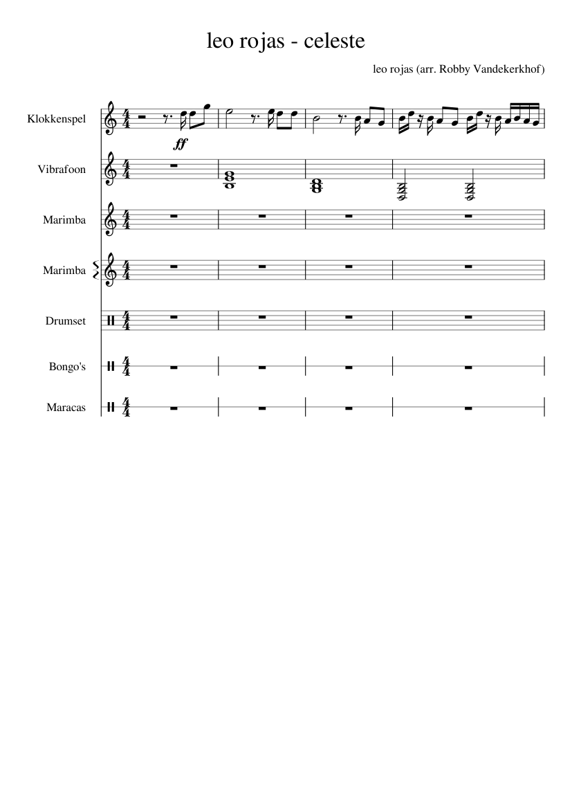 Celeste leo rojas sheet music for percussion download free in.