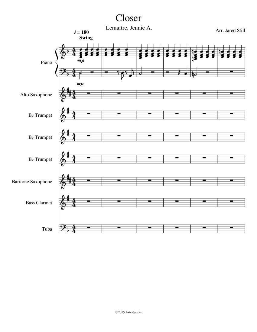 Brahms' lullaby for piano and bb trumpet (pdf file), pure she.