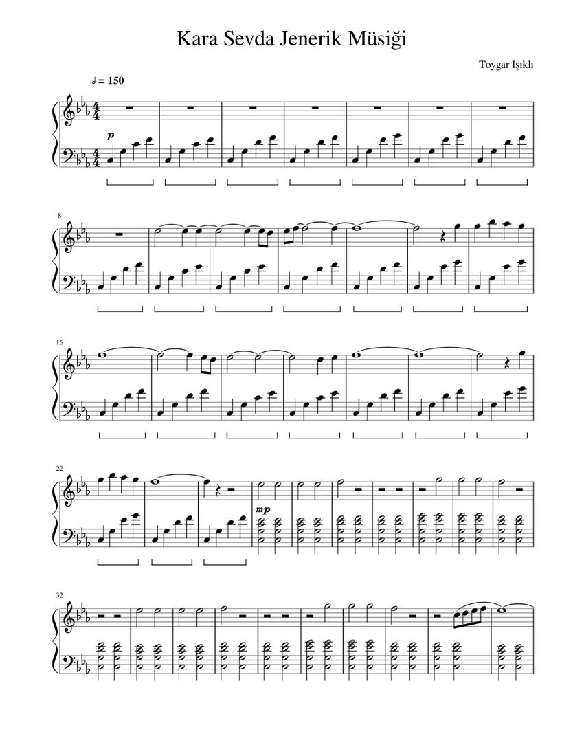 Kara Sevda Jenerik Musigi Sheet Music For Piano Solo Musescore Com