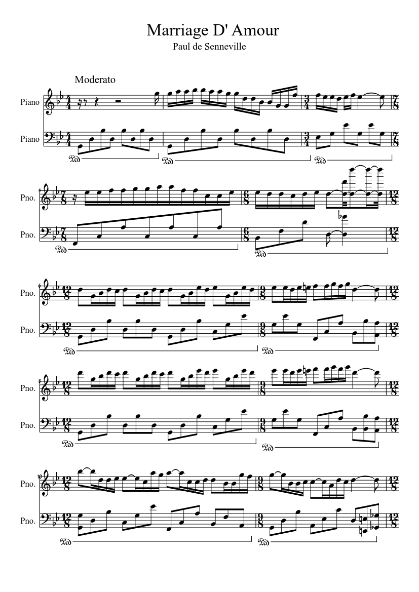 Marriage D Amour Sheet Music For Piano Piano Duo Musescore Com